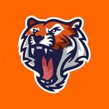 tiger mascot logo template for sport, game crew, company logo, college team logo