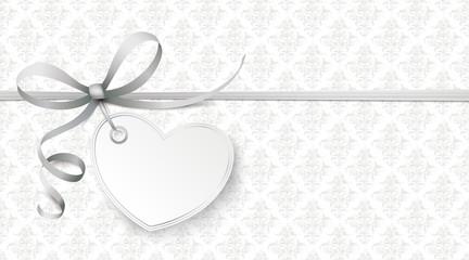 Gray Ribbon Ornaments Wallpaper Heart
