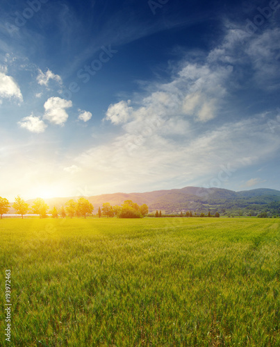 Aluminium Nachtblauw Mountain with the sun