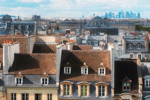 Poster Parijs vintage roofs of Paris