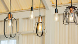 Close up of the lamp hanging from a ceiling. - 193974243
