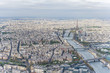 Aerial view of Paris city center with the Seine river and its bridges in the foreground and the Eiffel tower in the background.