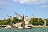 Traditional Barge sailing on the River Thames  - 193980043