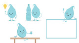 Set, collection of cartoon doodle water characters with bottle and glass of water, promoting the idea of hydrate yourself properly, do not forget about drinking water. - 193988221