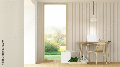 The interior hotel bedroom space 3d rendering and nature view - 193989209