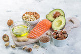 Selection of good fat sources - healthy eating concept. Ketogenic diet concept - 193990471