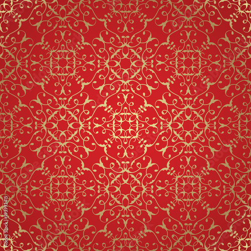 Vector damask seamless pattern background. Elegant luxury texture for wallpapers, backgrounds. Gold pattern on red background