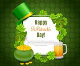 Saint Patricks Day Card with Treasure of Leprechaun, Green Hat on orange Background. - 193993660