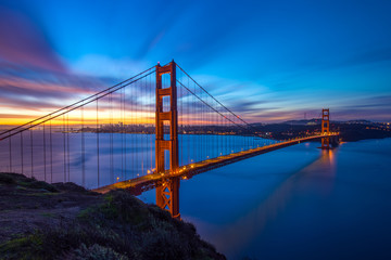 Beautiful Californica San Francisco Golden Gate Bridge Sunrise Long Exposure