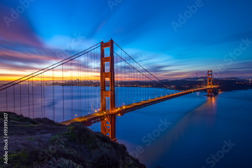 mata magnetyczna Beautiful Californica San Francisco Golden Gate Bridge Sunrise Long Exposure