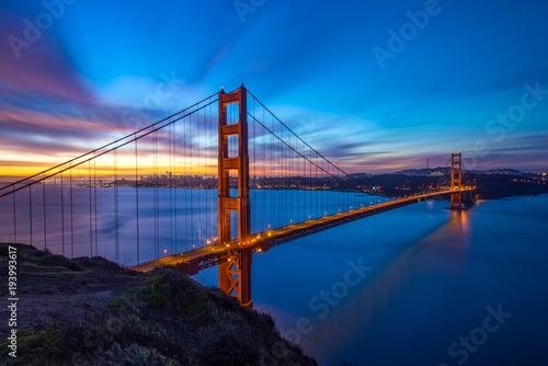 Fototapeta Beautiful Californica San Francisco Golden Gate Bridge Sunrise Long Exposure