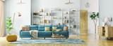 Interior of modern living room panorama 3d rendering - 193995249
