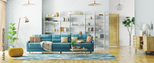 Fototapeta Interior of modern living room panorama 3d rendering