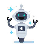Funny  Robot In Flat Wall Sticker