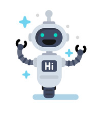 Funny  Robot In Flat Sticker