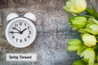 Daylight Savings Time Spring Forward concept top down view with white clock and green tulips