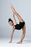 Young gymnast girl stretching and training - 193999861