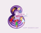 Card For 8 March Womens Day Number Eight  Flowers Cut From Paper And Women    Text  Illustration Papercut And Craft Style Wall Sticker