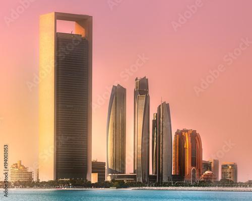 Foto op Canvas Abu Dhabi View of Abu Dhabi Skyline at sunrise, UAE