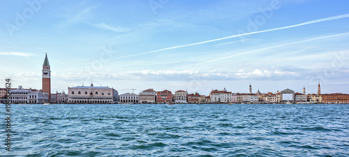 Foto op Aluminium Venetie Daylight view from boat to Riva degli Schiavoni waterfront and colorful building