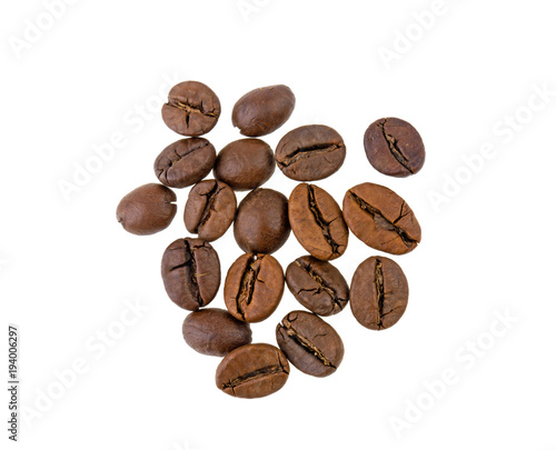 Aluminium Koffiebonen coffee grains isolated on white background
