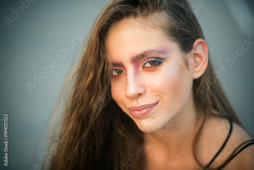 Foto op Canvas Kapsalon Beautiful girl with hairstyle and makeup