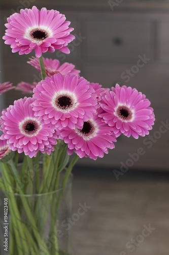 Plexiglas Gerbera Розовые цветы стоят в стеклянной вазе