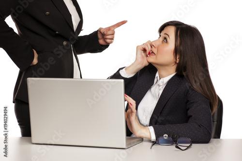 Fototapeta boss shout at her computer worker