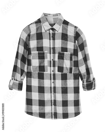 Black and white checkered shirt with collar and buttons isolated on white