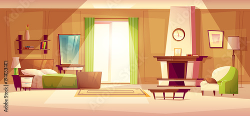 Vector cartoon illustration of cozy modern bedroom, living room with double bed, fireplace, armchair, bookshelf, dresser, carpet, interior inside. Colorful background, apartment concept with furniture