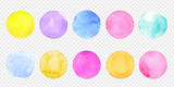 Color watercolor circle set. Vector smear watercolour splash stain on transparent background. Round hand drawn watercolor background with yellow, blue, red, pink, orange, green ink color. - 194037634