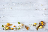 Easter background with flowering branches, nest and yellow eggs - 194038280