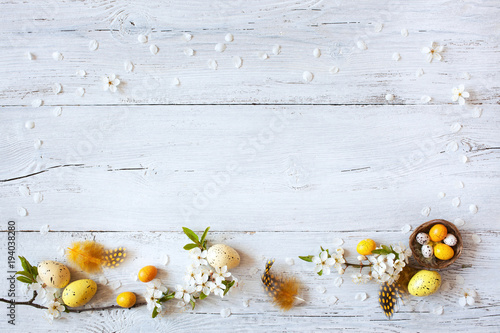 Fototapeta Easter background with flowering branches, nest and yellow eggs
