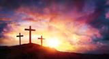 Crucifixion Of Jesus Christ  At Sunrise - Three Crosses On Hill - 194040010
