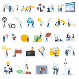 Flat Design People Concept Icons     Illustrations For Web And App Design And Development Seo Social Media Wall Sticker