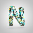 Camouflage letter N uppercase with cyan, black and yellow camouflage pattern isolated on white background.
