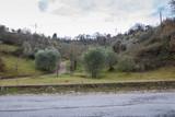 Straße und Hügel, Toskana, Italien