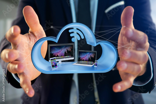 Fototapeta Devices like smartphone, tablet or computer displayed in a cloud- 3d render