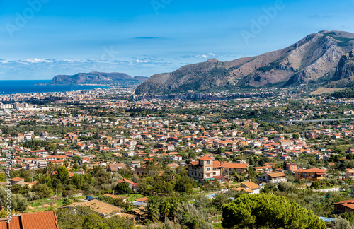 Poster Palermo Panoramic view of Palermo city from Monreale, Sicily, Italy