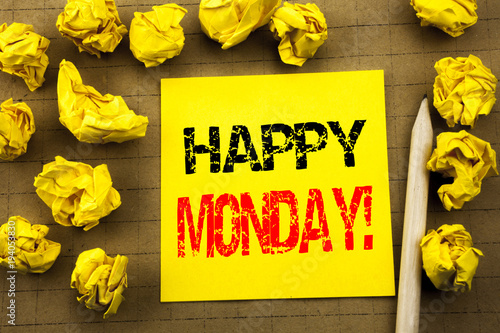 Handwriting text showing Happy Monday . Business concept for New Week Motivation written on sticky note paper on the vintage background. Folded yellow papers on the background