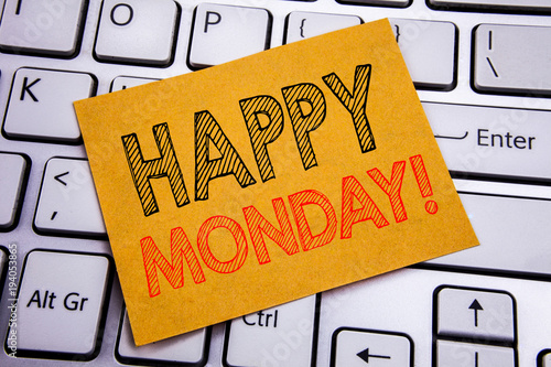 Conceptual hand writing text caption inspiration showing Happy Monday . Business concept for New Week Motivation written on sticky note paper on the white keyboard background.