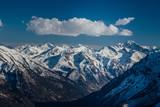 Mountains landscape. Caucasian mountain ridge with snow caps, Arkhyz, Russia