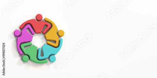 Group of Multiethnic Busy People HoldingEach Other. 3D Render Illustration