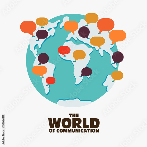 Fotobehang Wereldkaarten World map with colorful speech bubbles. Travel, translating, language interpreter and communication vector concept illustration