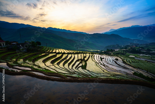 Deurstickers Rijstvelden Terraced rice field in morning in water season, the time before starting grow rice in Y Ty, Lao Cai province, Vietnam