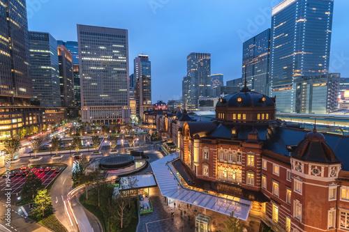 Aluminium Tokio Night city skyline at Tokyo Station, Tokyo, Japan 4K Time lapse