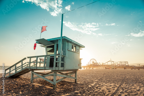 Lifeguard cabin on Santa Monica beach