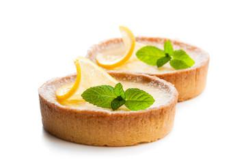 Mini  lemon tarts isolated on white