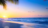 Art Beautiful sunset over the tropical beach - 194085248