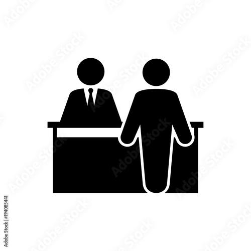 Icono plano mostrador atencion al publico en color negro